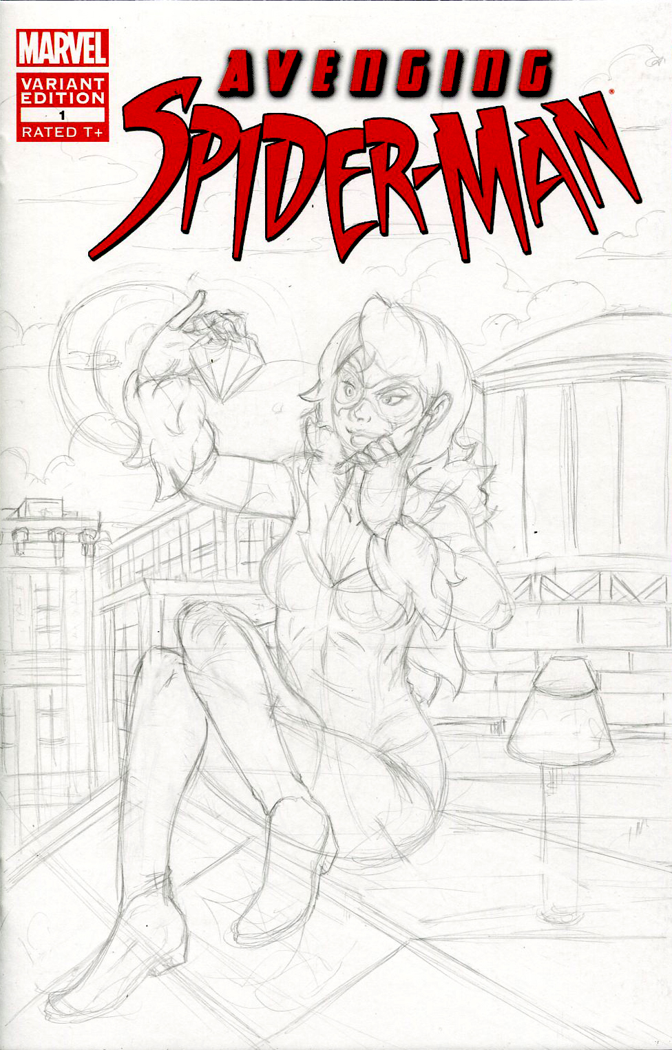 Blackcat Avenging Spider Sketch Cover Rough Pencil by ibroussardart