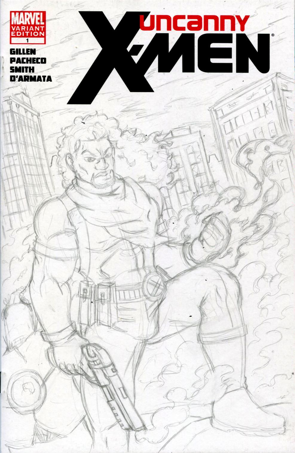 Bishop Uncanny X-Men Sketch Cover Pencils