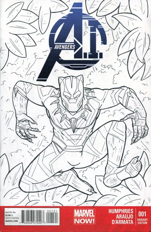 Black Panther Sketch Cover Inks by ibroussardart