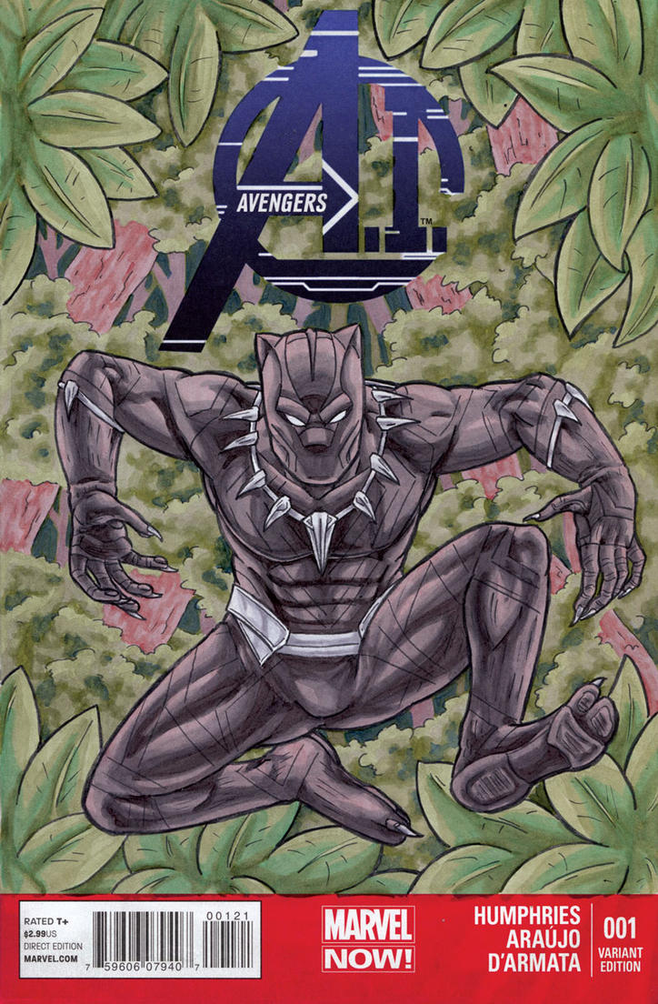 Black Panther Avengers Sketch Cover by ibroussardart