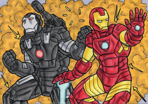 Iron Man and War Machine Sketch Cards