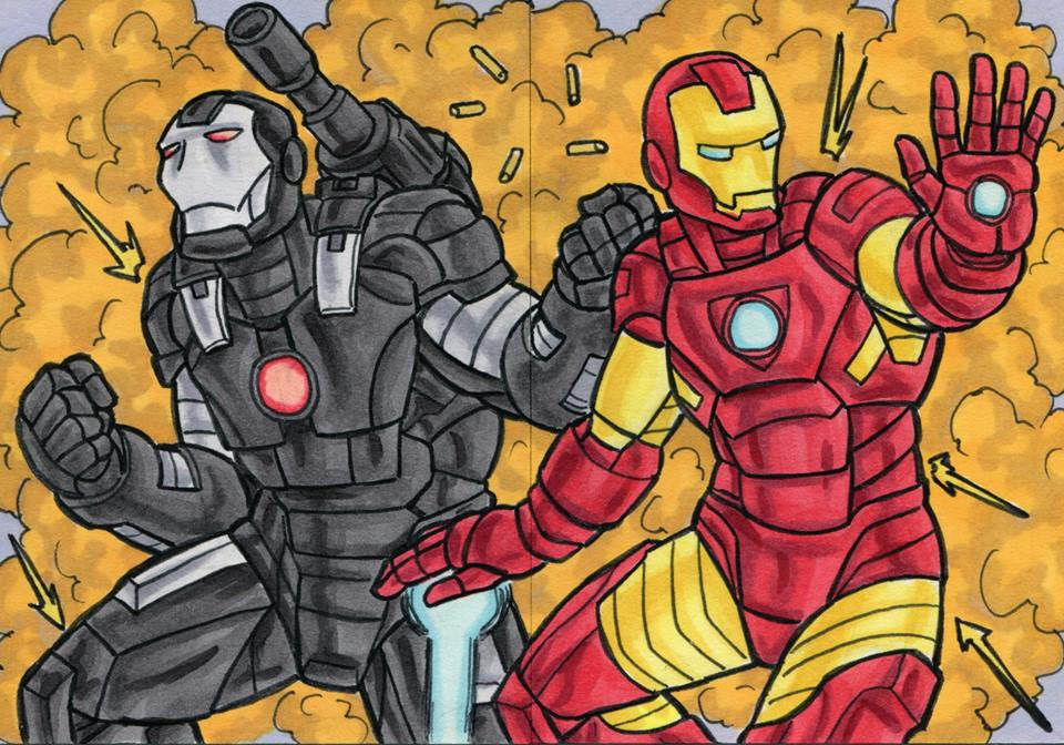 Iron Man and War Machine Sketch Cards by ibroussardart