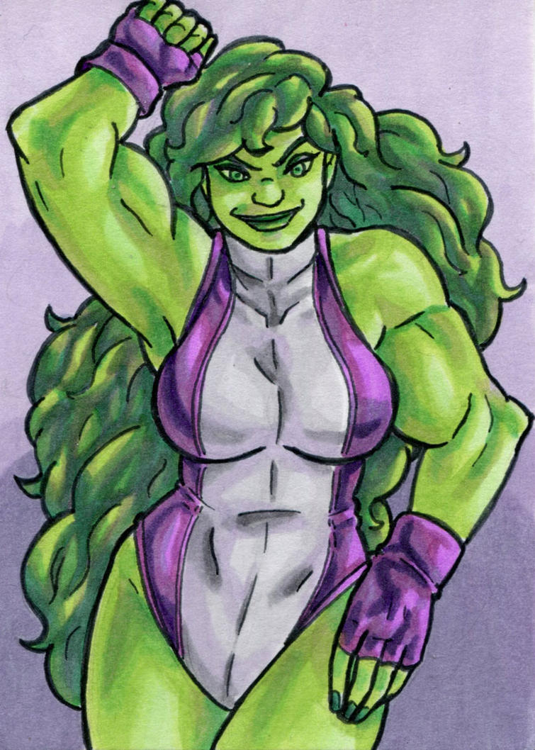 She-Hulk Sketch Card by ibroussardart