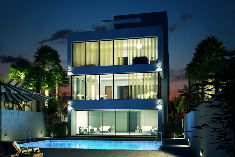 Minimalist villa night scene by arcanevsu on deviantart for Modern house 3d tour