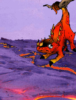fire lizard with background