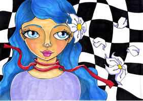 Blue Hair Girl Copic Marker