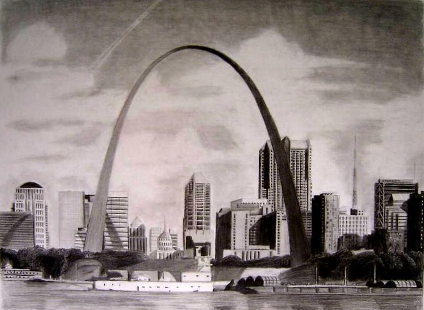 St Louis Skyline Drawing