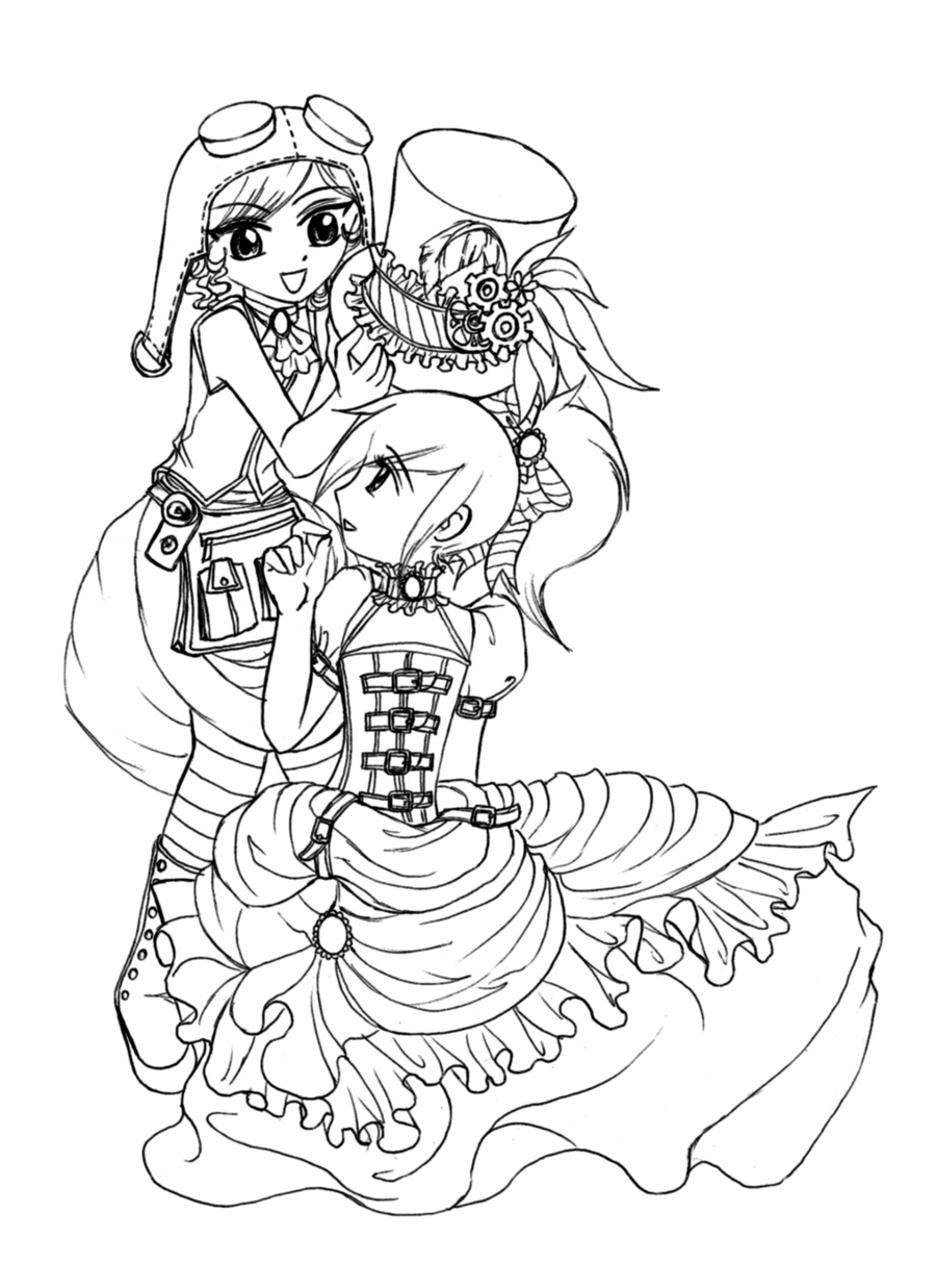 steampunk girl coloring pages - photo#20