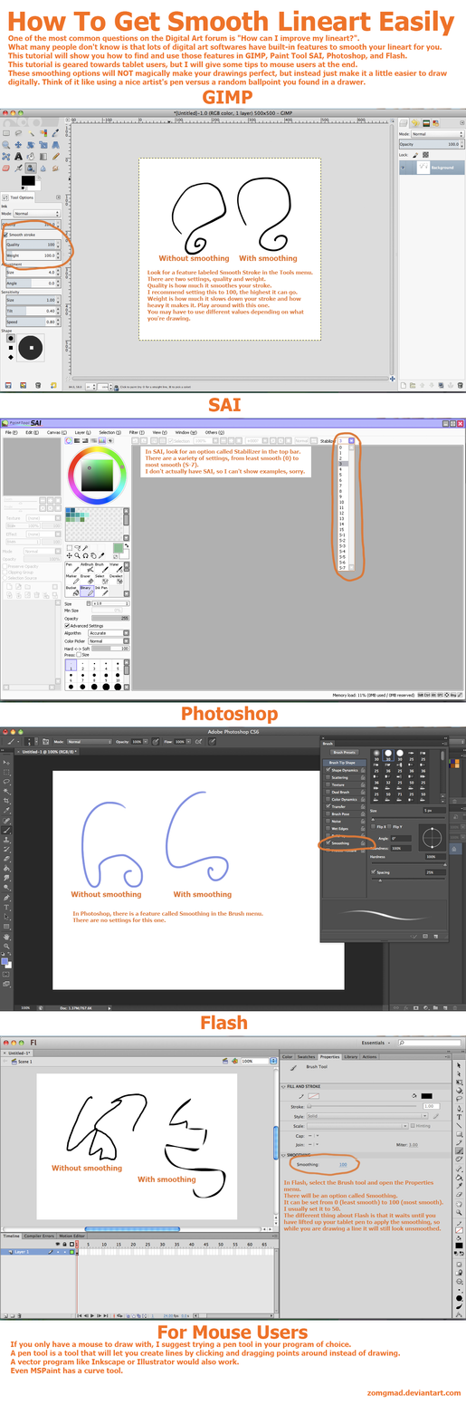 How To Get Smooth Lineart Easily - Tutorial by zomgmad