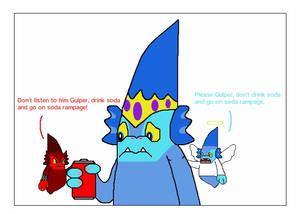 Gulper's Shoulder Angel and Devil