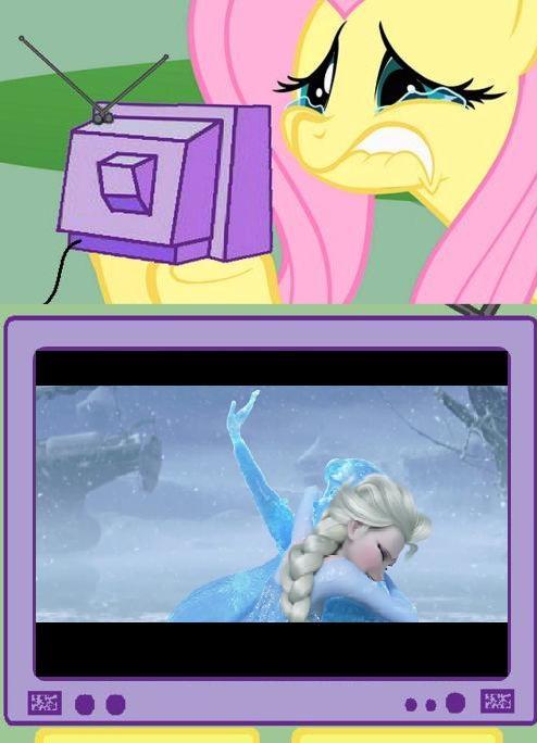 Fluttershy TV Meme: Frozen by eagc7