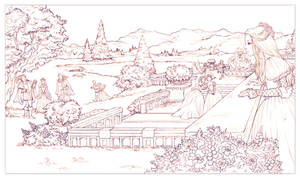 Tudors garden scene sketch by CourtneyTrowbridge