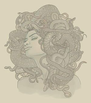 Commission: Medusa book cover line art