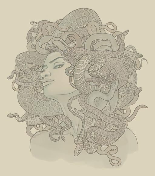 Commission: Medusa book cover line art by CourtneyTrowbridge