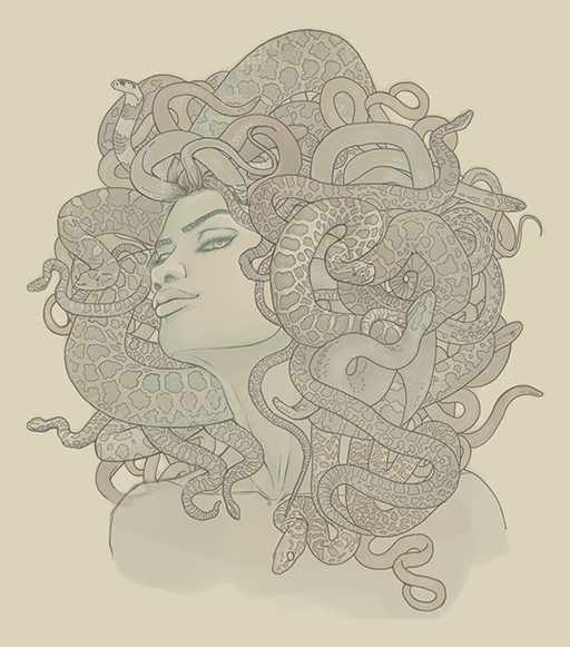 Commission: Medusa book cover line art by CourtneyTrowbridge