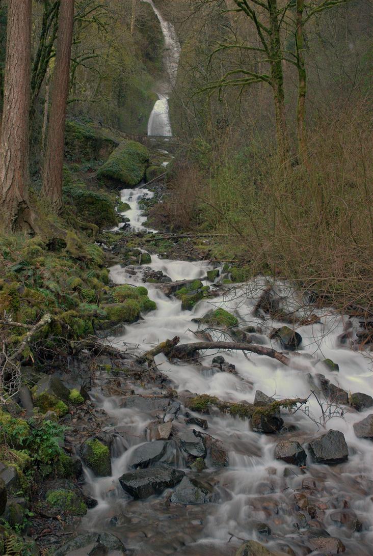 Wahkeena Falls by strangledbyart