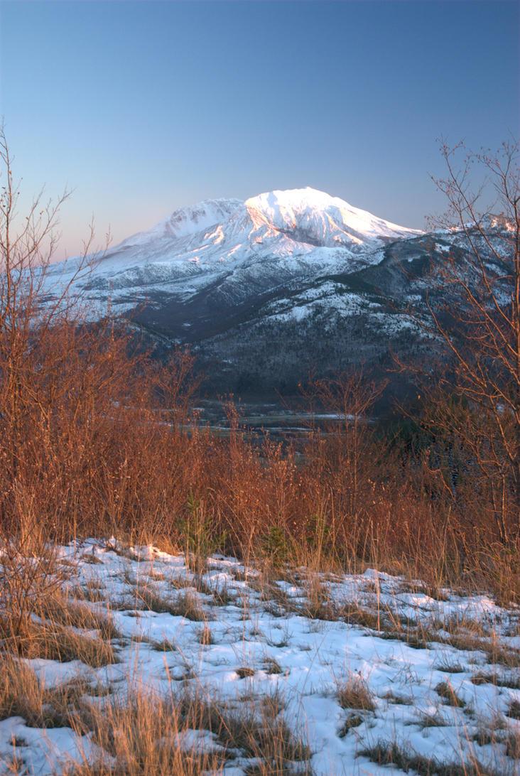Mount St. Helens Alpenglow by strangledbyart