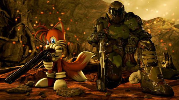 Doom Slayer and Tails [SFM]