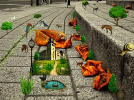 small jungle on footpath by mu6