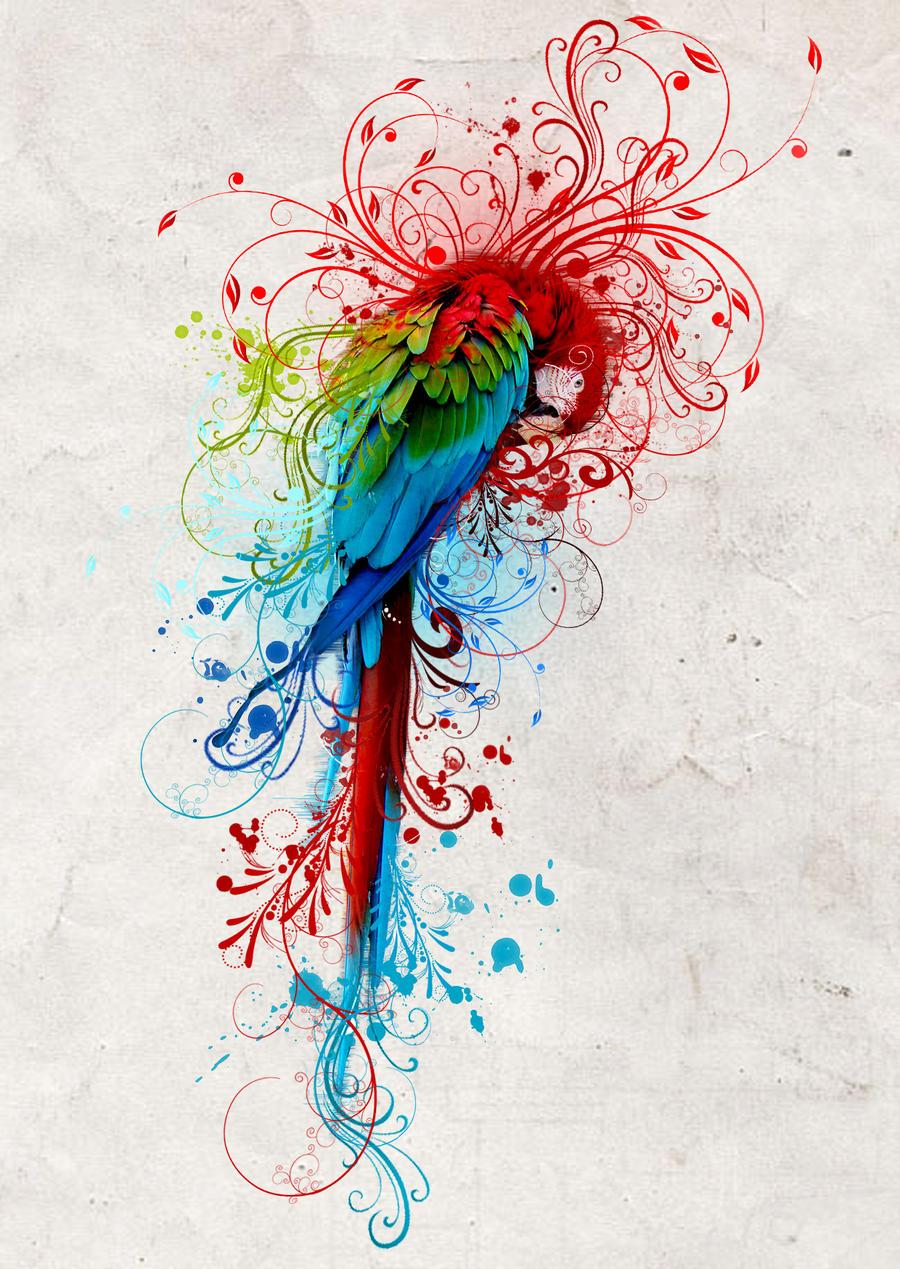 Эскизы тату перьев и цветов