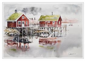 Rorbu huts in Norway by koloranek