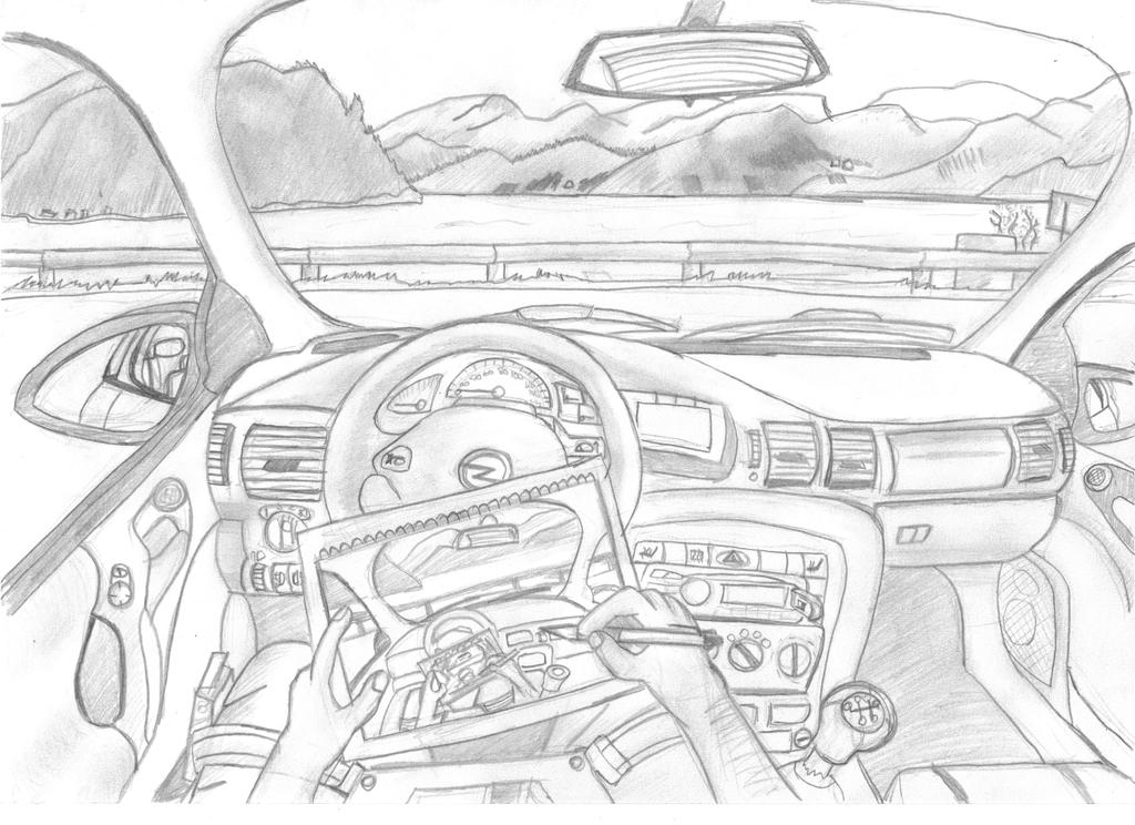 me drawing inside my car while by rittifruity on deviantart. Black Bedroom Furniture Sets. Home Design Ideas