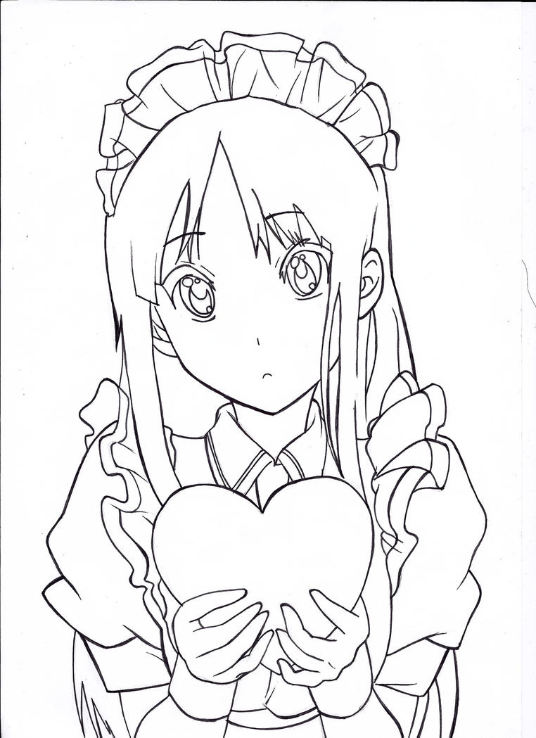 Mio-chan lineart. by PatriciaMuacMuac