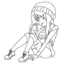 Cool girl lineart. by PatriciaMuacMuac