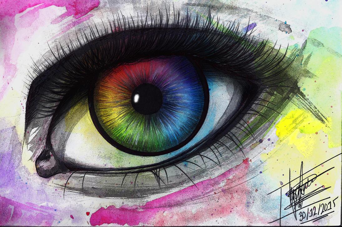 Rainbow watercolor eye by PatriciaMuacMuac