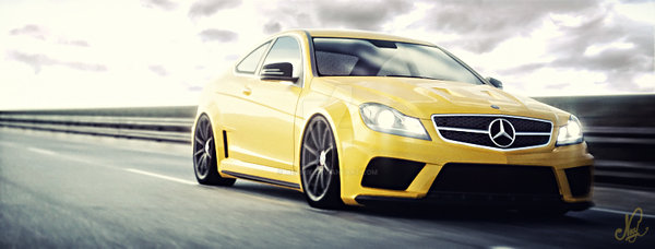 Merc C63 Amg Coupe on the straight by mezwik