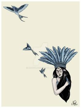 BLUE SWALLOW LADY TATTOO