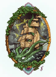 SQUID SHIP TATTOO