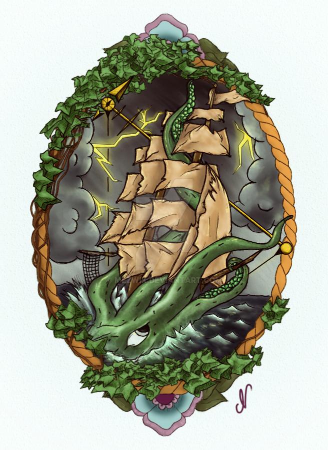SQUID SHIP TATTOO by mezwik
