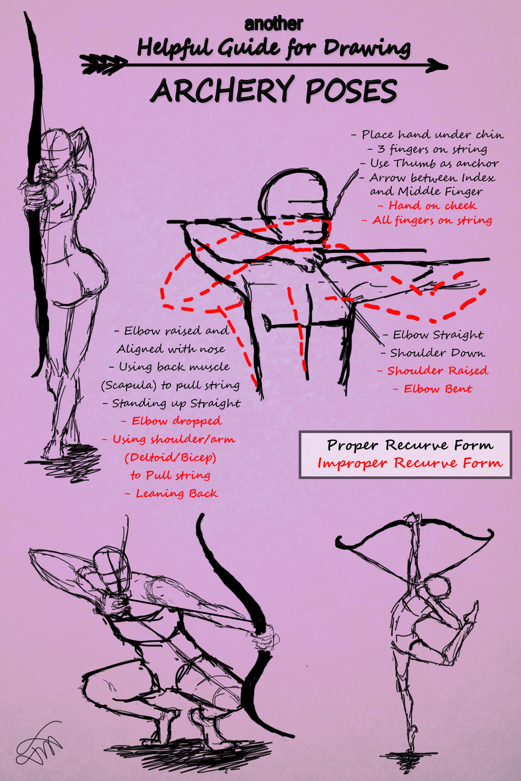 Another Guide for Drawing Archery Poses by JessKristen