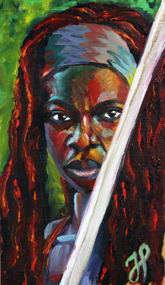 Portrait of Danai Gurira as Michonne by JessKristen