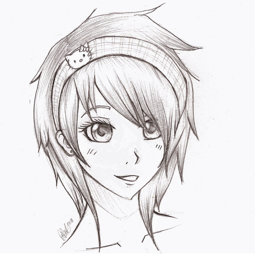 Anime girl sketch by mr awesomenessist