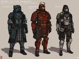 Destiny Concept Art 2-  Samurai Styled Armors by TheChrisPMan