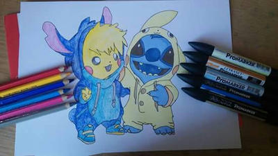 Pikachu and Stitch  by TheDresinger