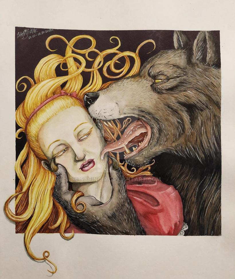 Girl and wolf by SabiNoir