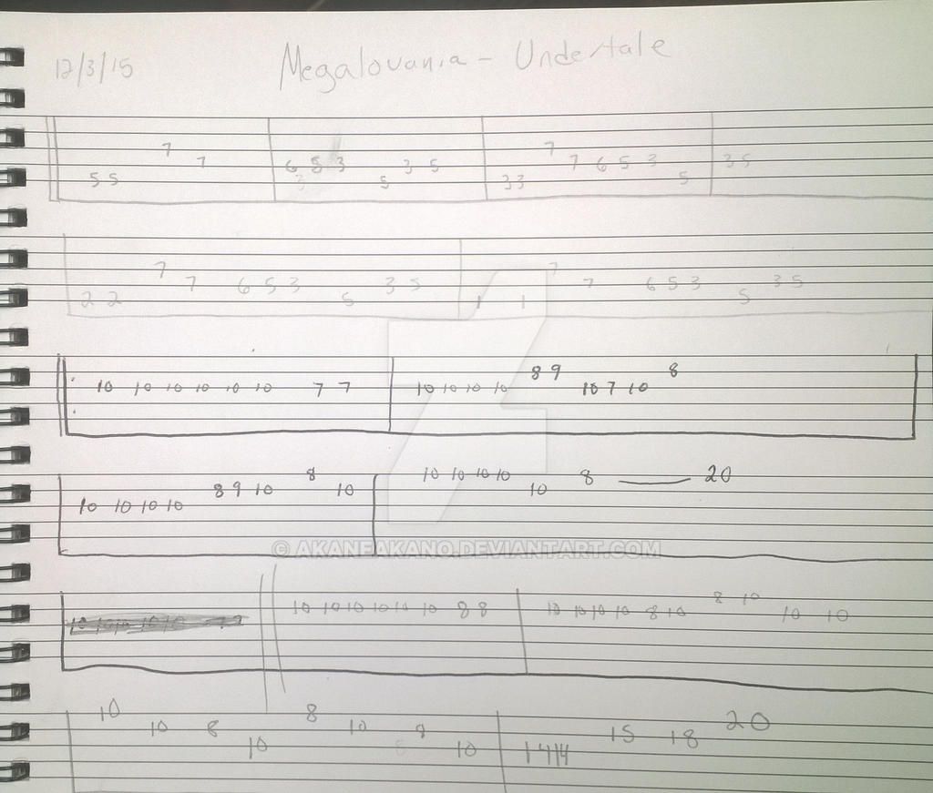 Undertale - Megalovania Guitar Tabs pg 1 by AkaneAkano on