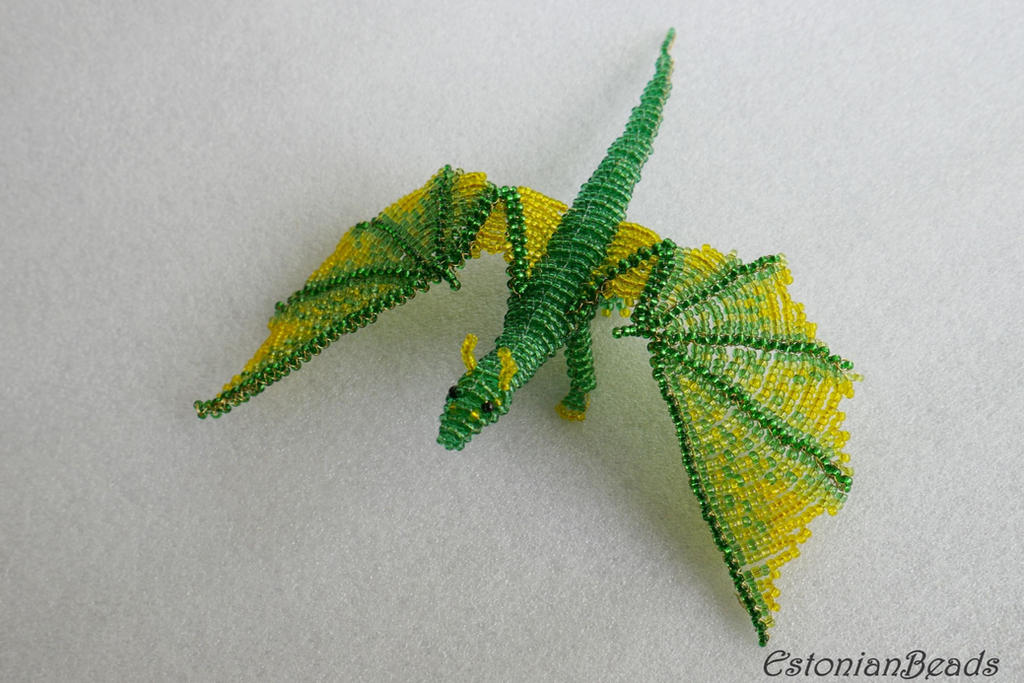 Beaded green dragon by EstonianBeads
