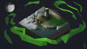 Lighthouse with Aurora Borealis