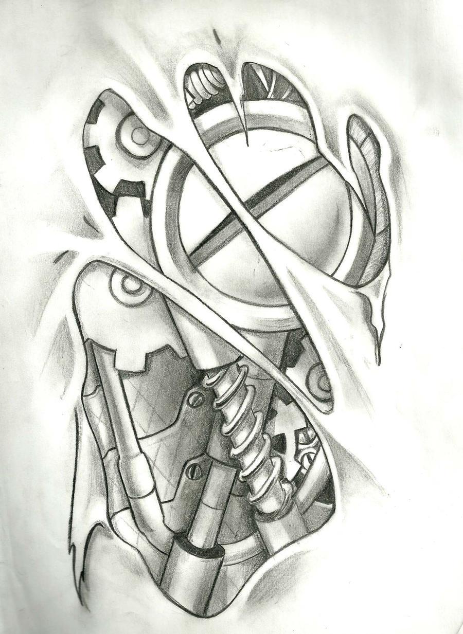 Biomechanical Tattoo Line Drawing : Bio mech by stefano on deviantart