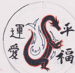 chinese dragon and characters