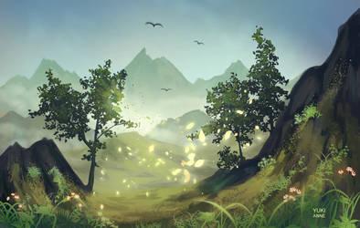 Foggy mountains by YukiAnne-chan