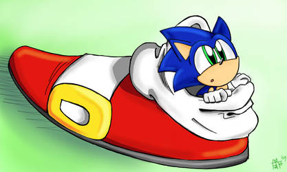 Sonic in his shoe by SonicFF