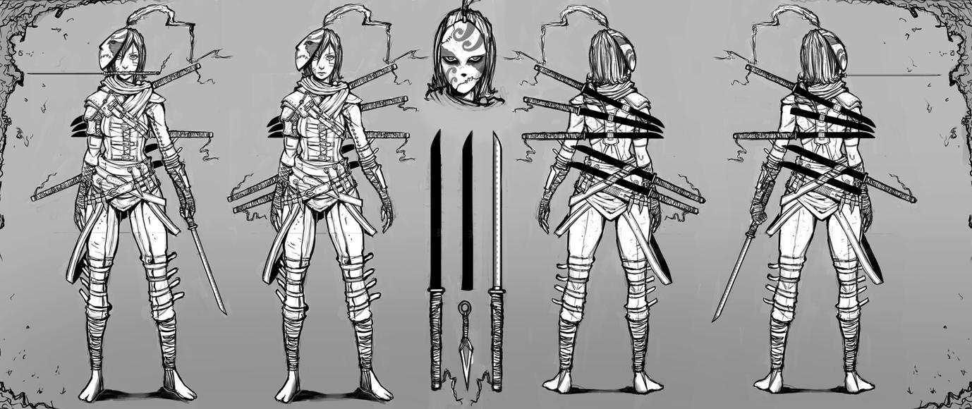 Character Concept Design Process : Female assassin character concept art by sarlah on deviantart