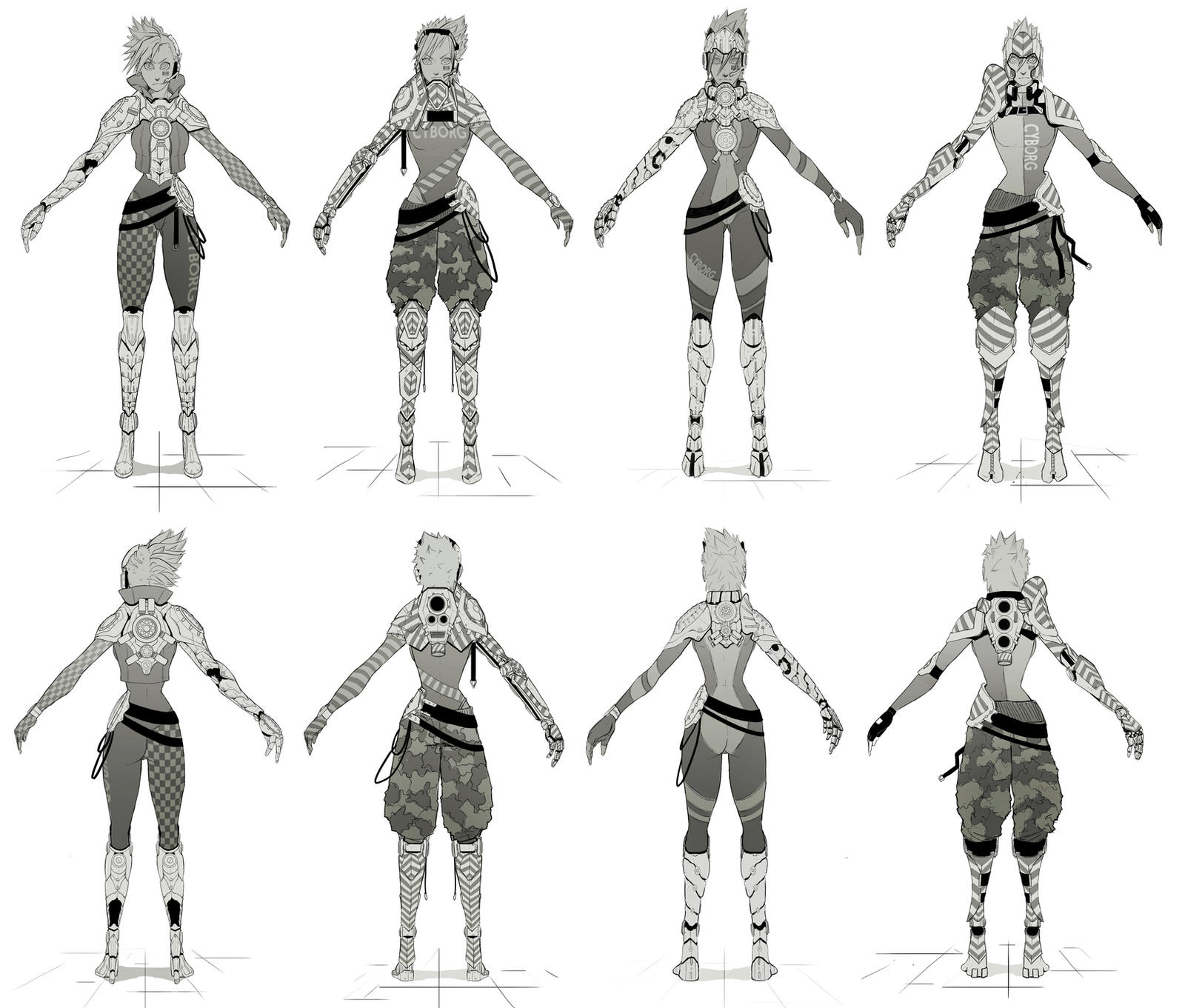 Single Line Character Art : Cyborg all character concept art line arts by sarlah on