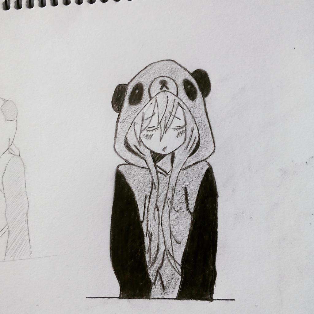 anime girl with panda hoodie 1 by bluestar1611 on deviantart