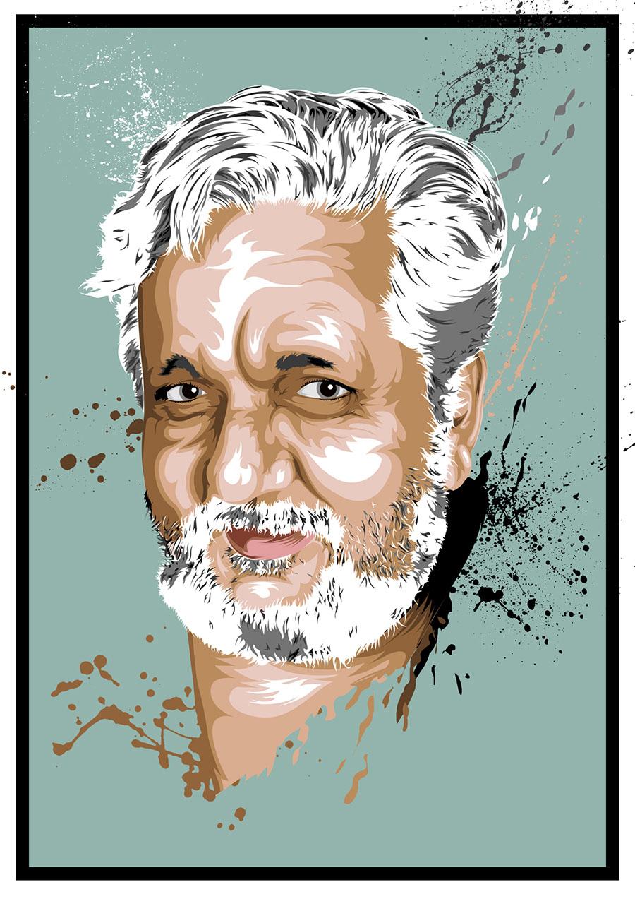 The Legendary Artist - Hussain Zamin Vexel Portrai